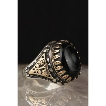 Eyed Agate Zirkon 925 Sterling Silver Men Ring EGYT-057
