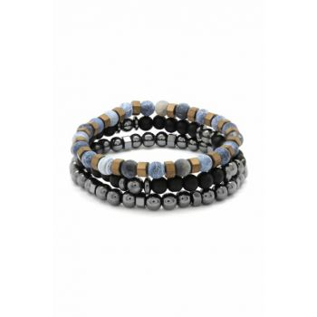 Sphere Cut Matte Agate-Onyx-Hematite Combined Natural Stone Bracelet 104000545
