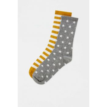 Women's Mustard Color Sport Socks Pack with 2 Stars Star 05895314