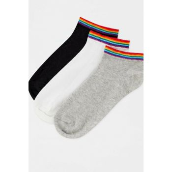 Women's Gray 3-Piece Multicolor Patterned Ankle Socks Pack 05895310