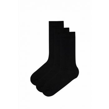 Black Men's Basic 3-Socket Socks PHEBS3SK19IY-SYH