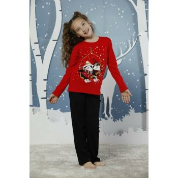 Girls Red Cotton Lycra Sleepwear Suit 19224055
