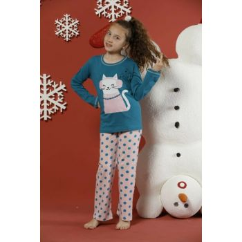 Girls' Patterned Cotton Lycra Sleepwear Suit 19224085