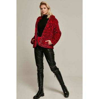 Women Red Leopard Patterned Hooded Fur Coats 21186 Y19W127-L21186LEO