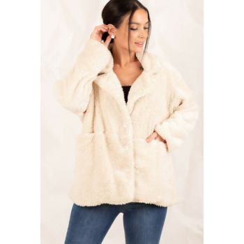 Women's Ecru Plush Buttoned Lined Coat ARM-20K083003