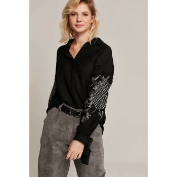 Women's Black Sleeve Detail Embroidered Cuff Linked Shirt 30242 Y19W109-30242