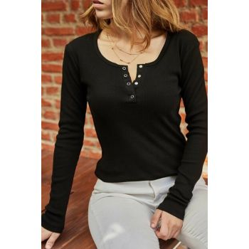 Women's Black Chest Stretchy Blouse 9YXK2-41824-02