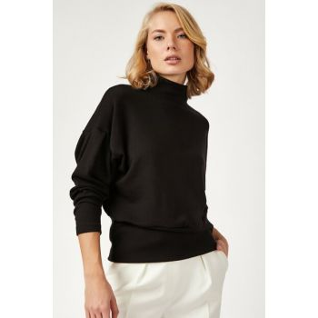 Women's Black Sheer Turtleneck Balloon Sleeve Sweater Pullover TS00128