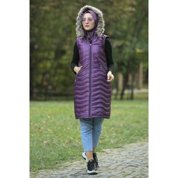 Women's Purple Quilted Vest TSD0944