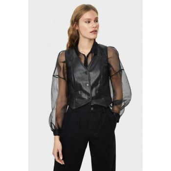 Women Black Faux Leather Vest 08405085