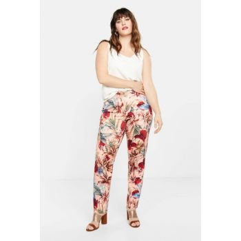 Women's Pink Tropical Printed Pants 51051036