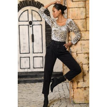 Women Black High Waist Mom Jean ALC-X3105