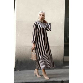 Women's Beige Striped Dress 1837