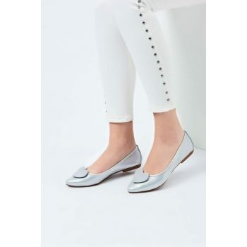 Genuine Leather Silver Women Flats 120130005664
