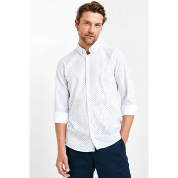 Men's White Printed Shirt 9W0455Z8