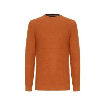 Men's Tobacco Cotton Knit Patterned Sweater 339570
