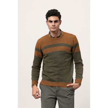 Men's Khaki Cycling Neck Blocked Sweater 342795