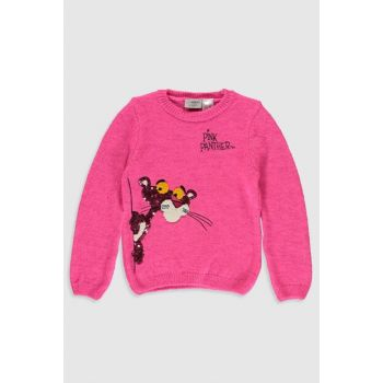 Girl's Fluorescent Pink D4G Sweater 9WI896Z4