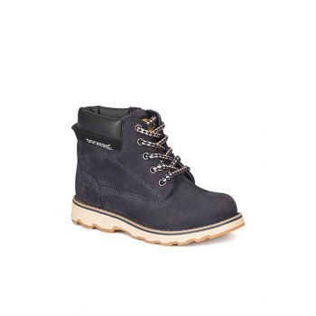 Navy Blue Men's Leather Boots 000000000100283386