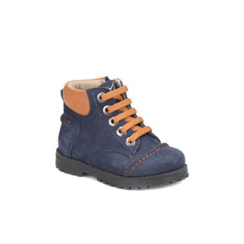Navy Blue Men's Leather Worker Boots NEPO LEATHER 000000000100273137