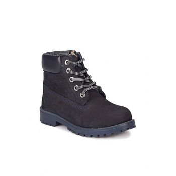 Navy Blue Girls Leather Boots 000000000100284634 000000000100284634