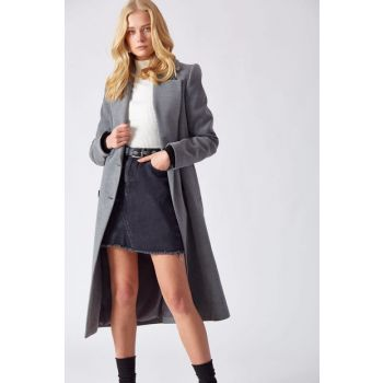 Women's Button Detailed Stamp Coat Gray D89114-110