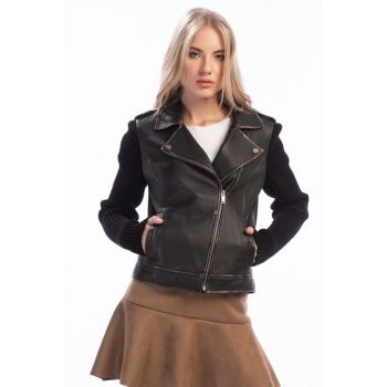 Genuine Leather LOVE Black Women Leather Jacket 16WGM5263ME