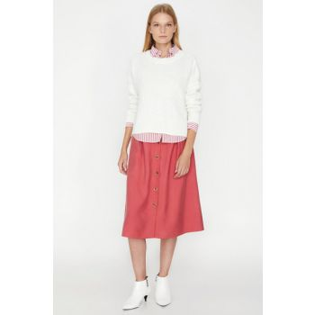 Women's Pink Button Detailed Skirt 9KAK72876UW 9KAK72876UW