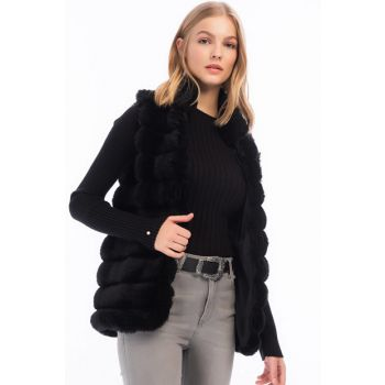 Women's Black Fur Coat Transverse Line Patterned Sleeveless Vest 8414151