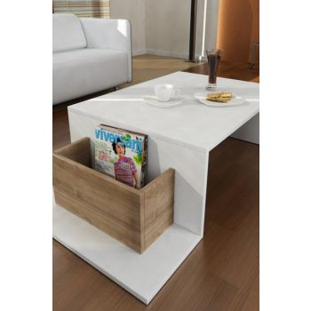Pot Medium Coffee Table White-Walnut 8681506221346