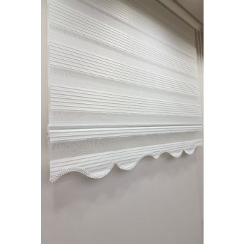 140 x 200 Pleated Roller Zebra Curtain White MZ480 8605480589186