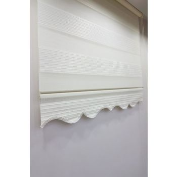 150 x 200 Pleated Roller Zebra Curtain Ecru MZ481 8605480598042