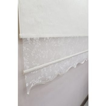 150X200 Double Mechanism Tulle Curtain and Roller Blinds MT4003 8605480998858