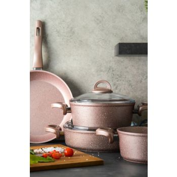 Premium Granite 7 Piece Cookware Golden Pink 600.05.01.0112