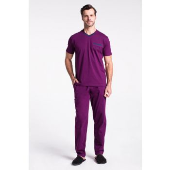 Men's Purple V-neck Short Sleeve Pajamas Set E0218Y0015 E0218Y0015