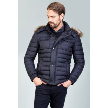 Men's Black Hooded Coats - A82Y6076 A82Y6076