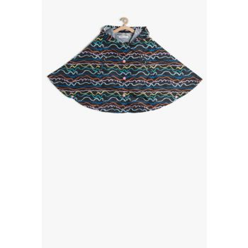 Black Patterned Girl's Poncho 7YKG27383AW