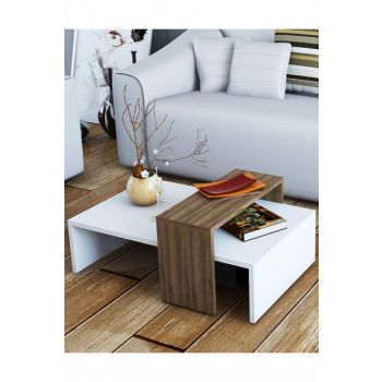 Puzzle Gradient Glow Walnut White Coffee Table PUSE3018