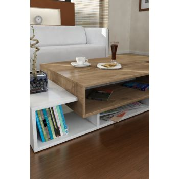 Tab Middle Coffee Table White-Walnut 8681506221384