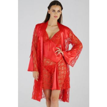 Women's Satin Nightwear Set with Red Dressing Gown MSD-658 MSD-658