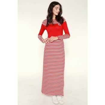 Women's Red Striped Combed Dress Y3113 Y3113
