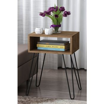 Tuana Metal Leg Side Table with Walnut 8681506224712
