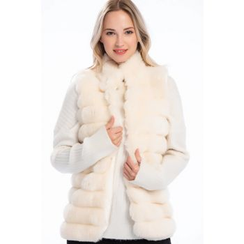 Women's Ecru Fur Coat Transverse Line Patterned Sleeveless Vest 8414151