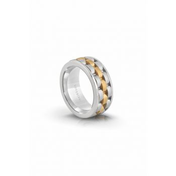Women's Silver-Gold Steel Ring LVR201B
