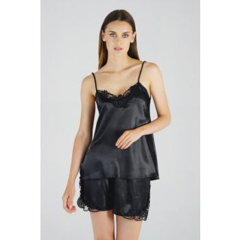 Women's Black Satin Shorts Suit MSD-205 MSD-205
