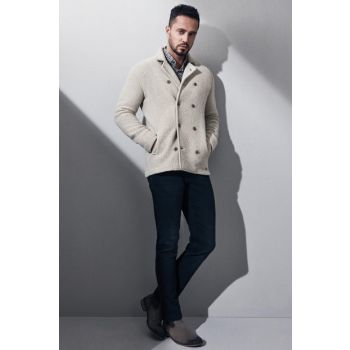 Men's Double Breasted Knitted Coats Beige-A82Y6030-08 A82Y6030-08