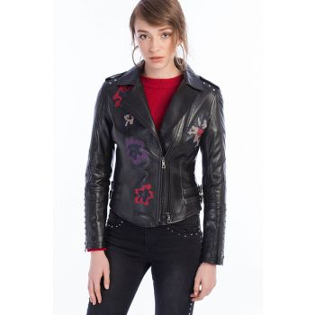 Genuine Leather GISELLE Black Women Leather Jacket 17WGD5422U4