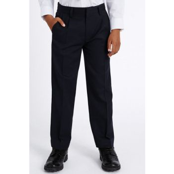 Navy Blue Boys Regular Leg Pants T76004623