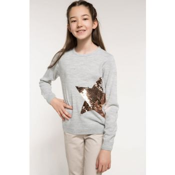 Gray Girl Child Sequin Detailed Star Printed Sweatshirt I7428A6.18AU.GR158