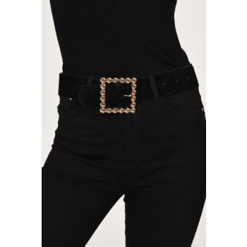 Women's Black Square Buckled Suede Belt BE95